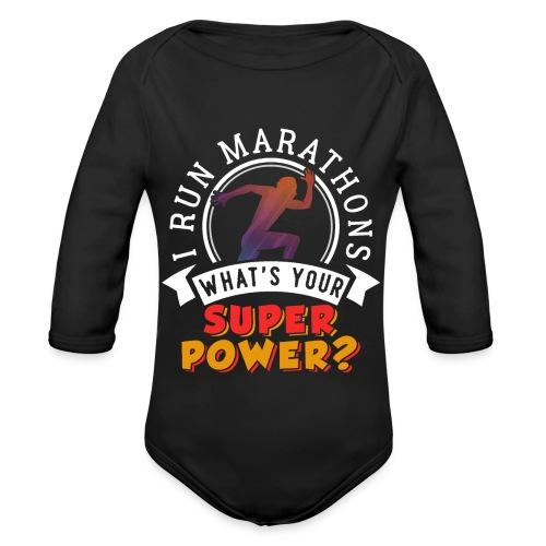 Running Marathons Super Power - Baby Bio-Langarm-Body