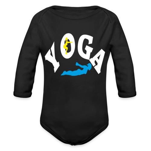 Yoga Schriftzug mit Posen Körperspannung Geschenk - Baby Bio-Langarm-Body