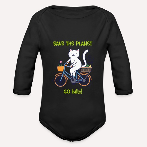 Caring About Climate? Save The Planet Go Bike! - Organic Longsleeve Baby Bodysuit