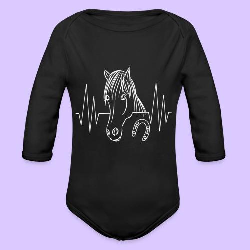 Pferd Pferde Tier Tiere Herzschlag Hufeisen Reiter - Baby Bio-Langarm-Body