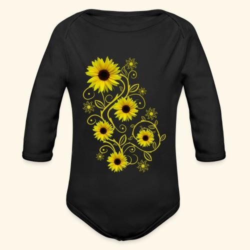 gelbe Sonnenblumen, Ornamente, Sonnenblume, Blumen - Baby Bio-Langarm-Body