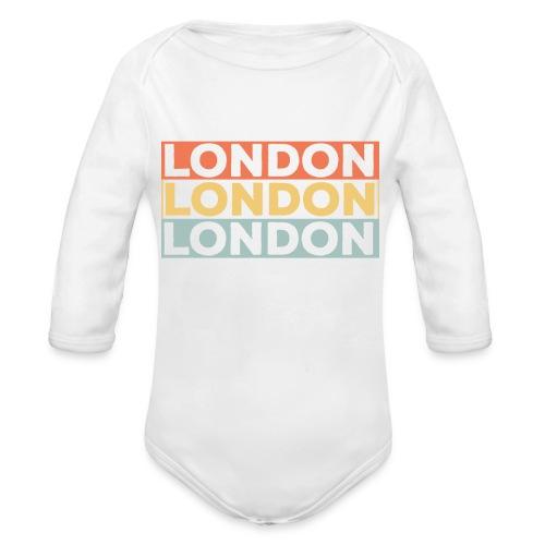 Vintage London Souvenir - Retro Streifen London - Baby Bio-Langarm-Body