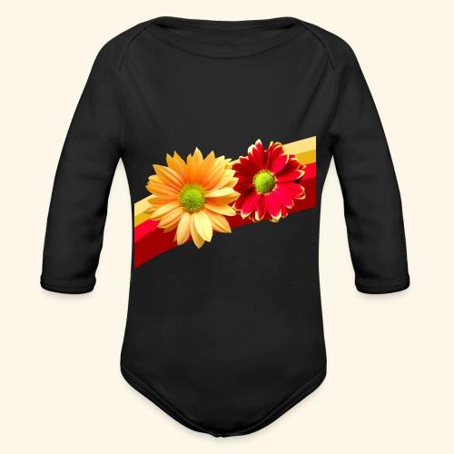 Blumen in den Farben rot und gelb, Blüten, floral - Baby Bio-Langarm-Body