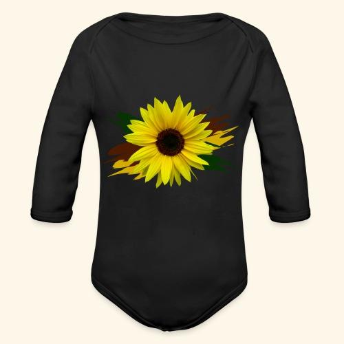 Sonnenblume, Sonnenblumen, Blume, floral, blumig - Baby Bio-Langarm-Body