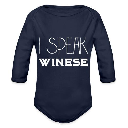 I speak WINEse - wine fan gift idea - Organic Longsleeve Baby Bodysuit
