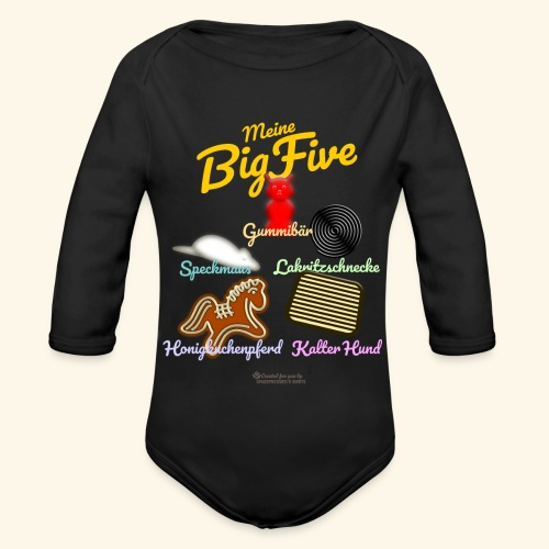 Geek T-Shirt Big Five - Baby Bio-Langarm-Body