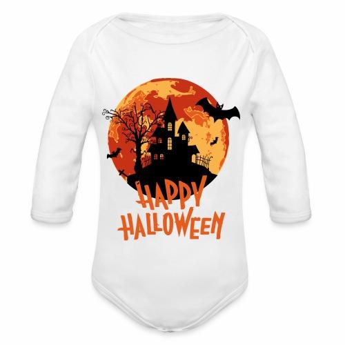 Bloodmoon Haunted House Halloween Design - Baby Bio-Langarm-Body