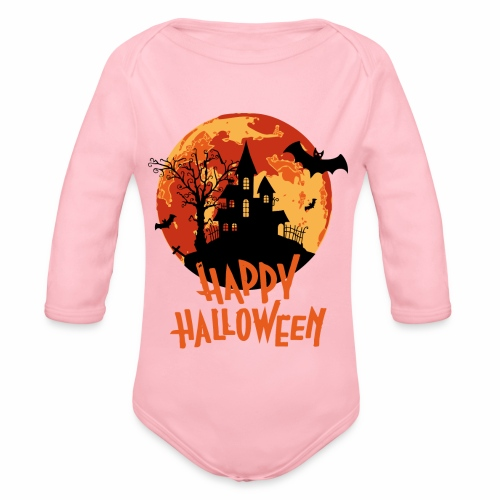 Bloodmoon Haunted House Halloween Design - Baby Bio-Langarm-Body