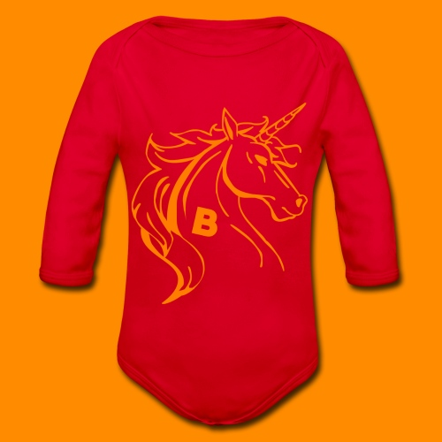 orange biodusty unicorn shirt - Baby bio-rompertje met lange mouwen