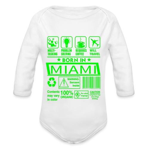 Born in Miami Florida - Body Bébé bio manches longues