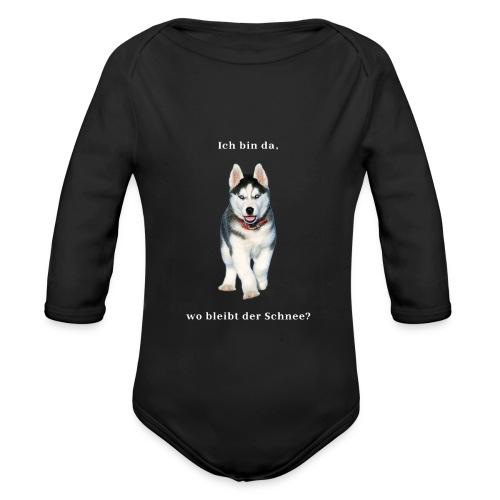 Husky Welpen mit bezaubernden Augen - Baby Bio-Langarm-Body