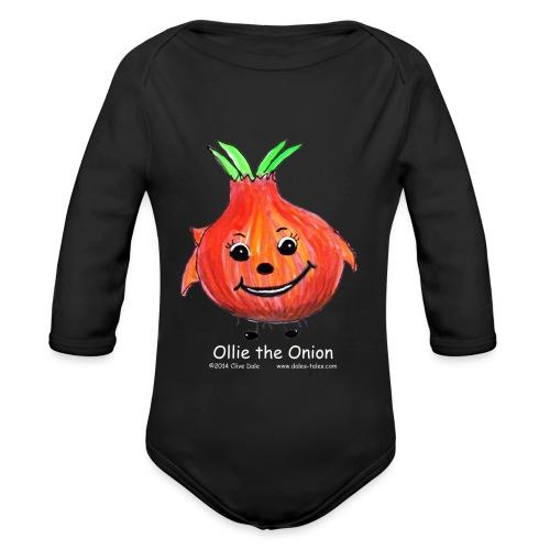 mens black T-shirt Ollie the Onion - Organic Longsleeve Baby Bodysuit