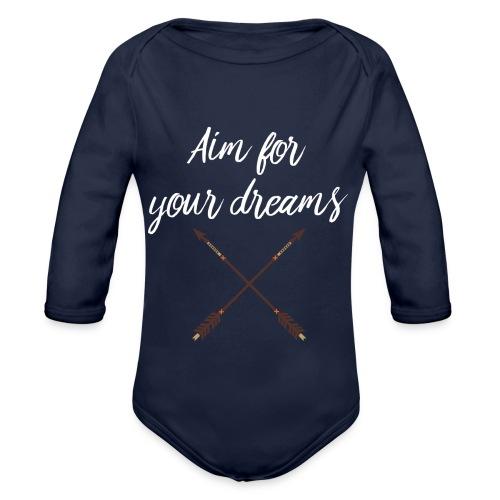 Aim for your Dreams white - Vauvan pitkähihainen luomu-body