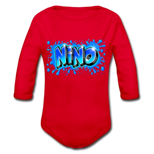 Graffiti NINO splash blue - Body Bébé bio manches longues