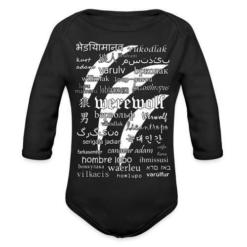 Werewolf in 33 Languages (Black Ver.) - Organic Longsleeve Baby Bodysuit
