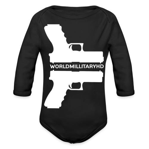 WorldMilitaryHD glock design (white) - Baby bio-rompertje met lange mouwen