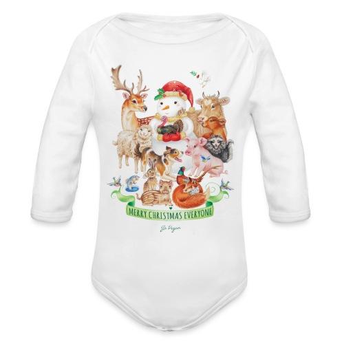 vegan-christmas-green - Organic Longsleeve Baby Bodysuit