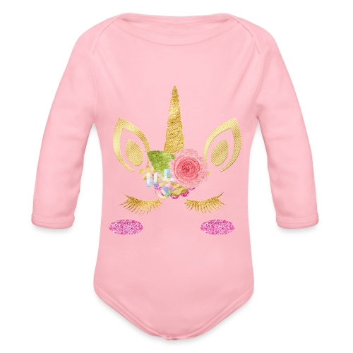 unicorn face - Baby Bio-Langarm-Body