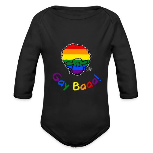 Homosexuell Baaa! Pride Sheep (schwarze Ausgabe Regenbogentext) - Baby Bio-Langarm-Body