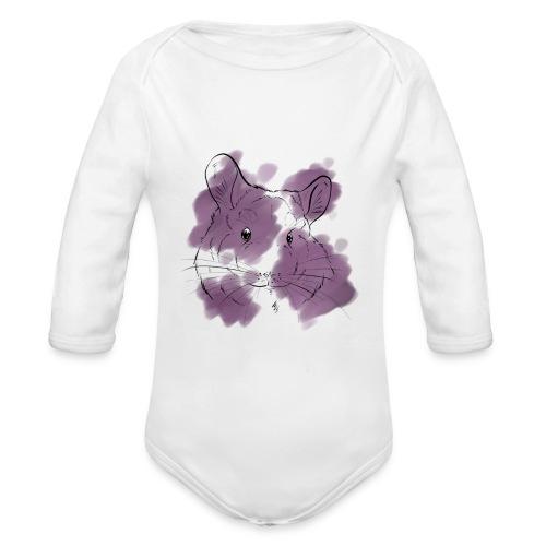Violet splash chinchilla - Vauvan pitkähihainen luomu-body