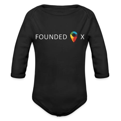FoundedX logo white png - Organic Longsleeve Baby Bodysuit