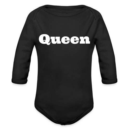 Snapback queen zwart/grijs - Baby bio-rompertje met lange mouwen