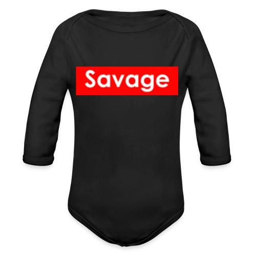 Savage / Supreme tshirt - Baby bio-rompertje met lange mouwen