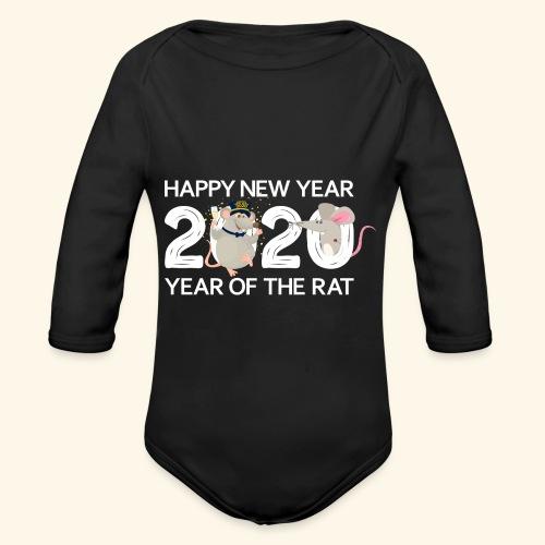 Happy New Year 2020 Gutes Neues Jahr der Ratte - Baby Bio-Langarm-Body