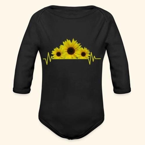 Sonnenblumen Herzschlag Sonnenblume Blumen Blüten - Baby Bio-Langarm-Body