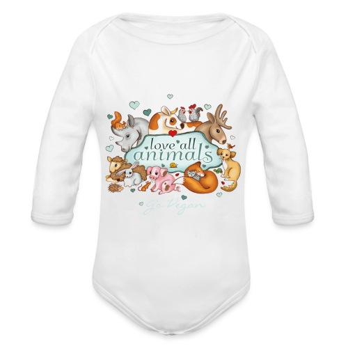 love all animals - go vegan - Organic Longsleeve Baby Bodysuit