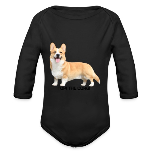 Topi the Corgi - Black text - Organic Longsleeve Baby Bodysuit