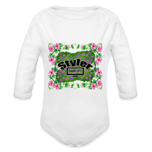 Styler Bloemen Design - Baby bio-rompertje met lange mouwen