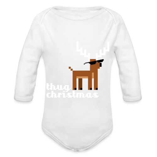 Christmas Xmas Deer Pixel Funny - Organic Longsleeve Baby Bodysuit