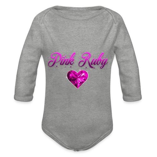 Pink Ruby heart - Ekologisk långärmad babybody