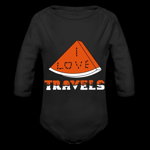 I LOVE TRAVELS FRUITS for life - Organic Longsleeve Baby Bodysuit