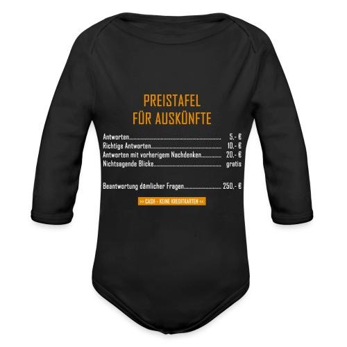 Preistafel für Auskünfte - Baby Bio-Langarm-Body