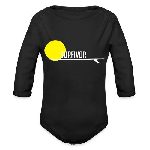Surfivor surf logo met zon - Baby bio-rompertje met lange mouwen