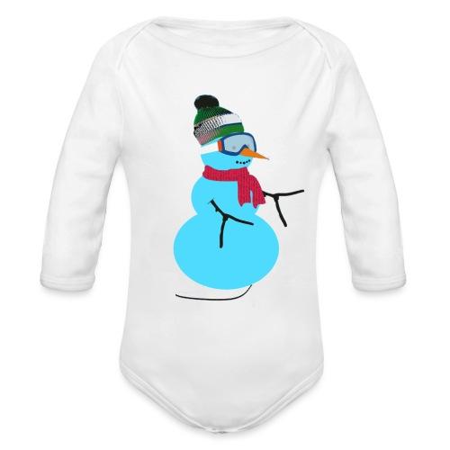 Snowboarding snowman - Vauvan pitkähihainen luomu-body