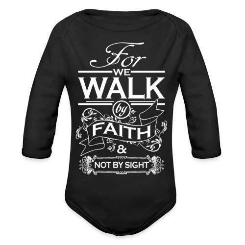 walk white - Organic Longsleeve Baby Bodysuit