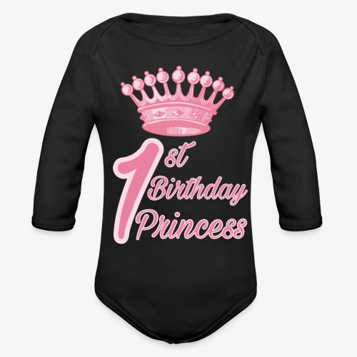 1st Birthday Princess - Body ecologico per neonato a manica lunga