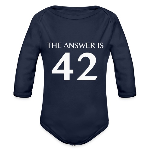 The Answer is 42 White - Organic Longsleeve Baby Bodysuit