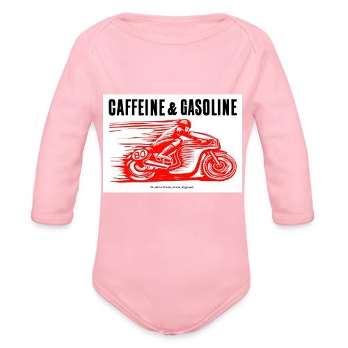 Caffeine & Gasoline black text - Organic Longsleeve Baby Bodysuit