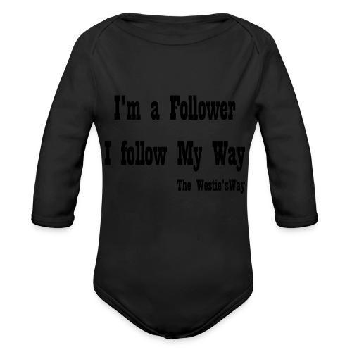 I follow My Way Black - Ekologiczne body niemowlęce z długim rękawem