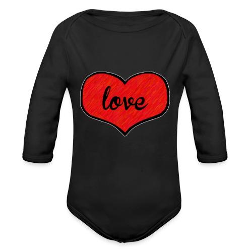 love heart - Organic Longsleeve Baby Bodysuit