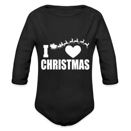 I Love Christmas Heart Natale - Body ecologico per neonato a manica lunga