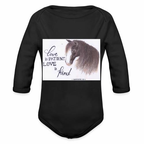 Pferd mit Bibelvers - Baby Bio-Langarm-Body