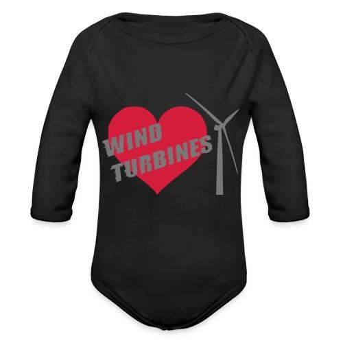 wind turbine grey - Organic Longsleeve Baby Bodysuit