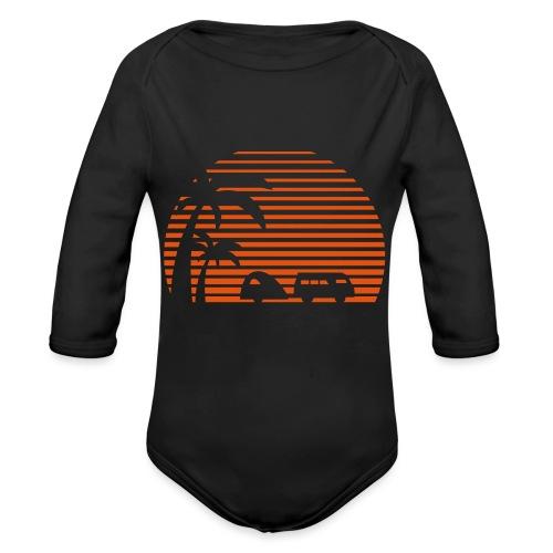 Camper Sonne Bus Palmen Surfen Strand Beach Urlaub - Baby Bio-Langarm-Body