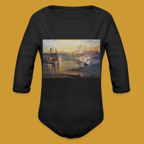 White Fishing - Mark Noble Art - Organic Longsleeve Baby Bodysuit