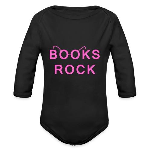 Books Rock Pink - Organic Longsleeve Baby Bodysuit